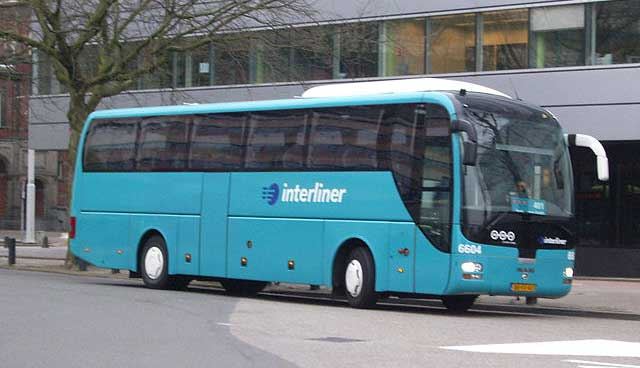 Interliner coach at Utrecht Centraal station